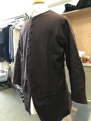"""Mid-18th Century, Rev War Man's Frock Coat, BROWN WOOL, 44""""-45"""" chest, NEW"""