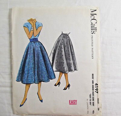 Vintage 1950s Skirt Sewing Pattern Misses Junior Waist Size 26 McCall 4197