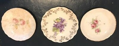 Antique Butter Pats--3 Porcelain Early Flowered Gold Trimmed Butter Pats