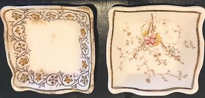 Antique Butter Pats--2 Henry Alcock England Gold-Rimmed Vintage Butter Pats