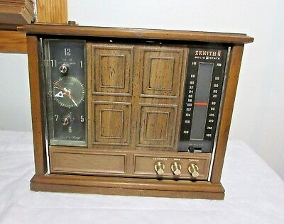 Vintage Rare Zenith Touch 'n Snooze Miniature Wood Console Alarm Clock Radio