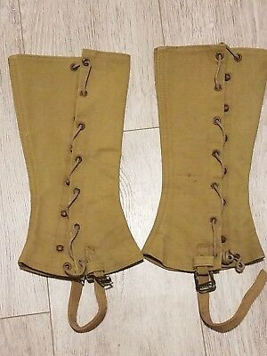 Vintage WWI I Era US Army SPATS Canvas Khaki Gaiters Leggings & Boot Covers 1923
