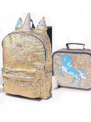 New Justice Girls Gold Unicorn Reversible Sequin Backpack Lunch box QLT1 N18