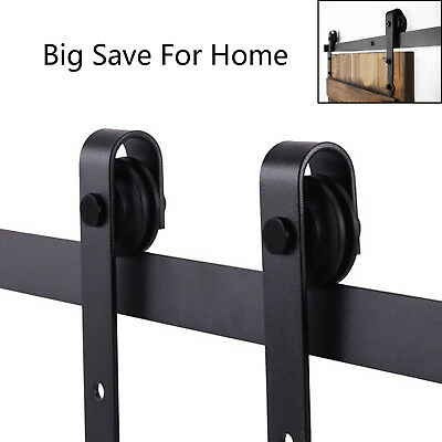 6.6 FT Sliding Barn Door Hardware Kit Track System Closet Antique Country Style