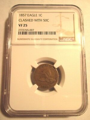 1857 Flying Eagle Cent Clashed with 50C!  Snow 9!  NGC VF25!
