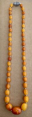 Vintage Genuine Baltic Amber Graduated Butterscotch Sterling Necklace 30.8 Grams