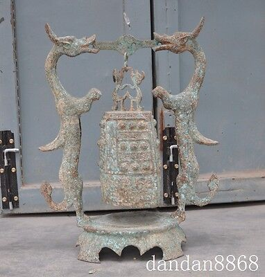 "20""old china palace Noble bronze dragon phoenix Antiquity Flat Bell Zhong Statue"