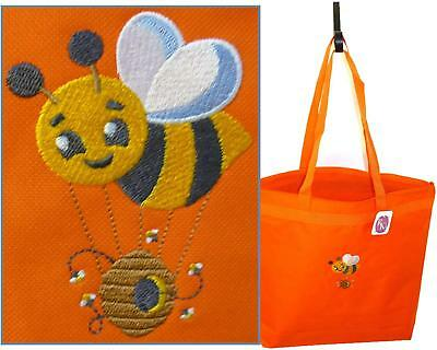 Buzzing Bumble Bee & Honey Hive Monogram Bag Orange Large Zip Tote Garden Gift
