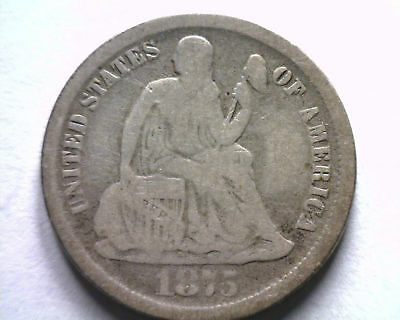 1875-Cc Below Bow Seated Liberty Dime Fine F Nice Original Coin From Bobs Coins