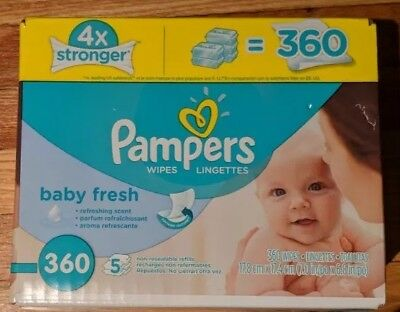 Pampers Baby Fresh Water Baby Wipes 5X Refill Packs, 360 Count