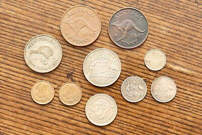 10 Old Australia New Zealand Coins Lot - Silver Florin Shilling Three Six Pence