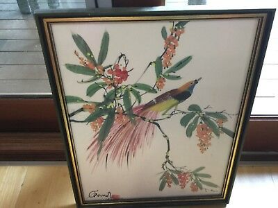 Choice of Framed 46x48cm fabric wall hanging or HANDPAINTED bird on silk VGUC