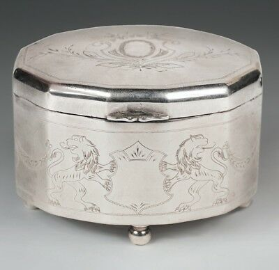 Silver etrog box engraved lions, marked poland c1880