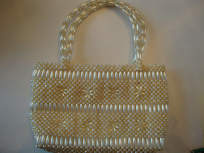 Vintage White Faux Pearls Pearlized Floral Beaded Hand Carry Sm Tote Bag