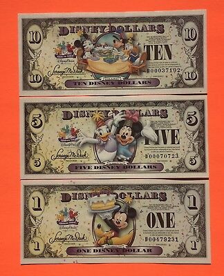 2009 D $1 $5 $10 Disney Dollars Set Of (3)