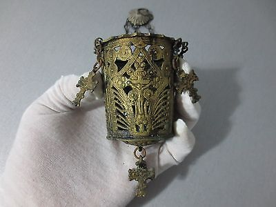 ANTIQUE19th C. BRONZE+GILDED CHURCH FLOAT LIGHT CHRISTIANITY ICON + LOT CROSSES