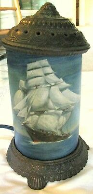 """Antique """"Scene In Action"""" lamp (Sailing Clipper Ship 1930's)"""