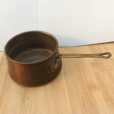 """VTG Vintage  Heavy Solid COPPER WITH BRASS HANDLES POT WITH Handles 4"""" Tall"""