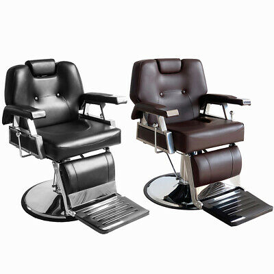 Barber Chair Salon Hydraulic Reclining Ajust Hairdcut Tattoo Shave Black/Brown