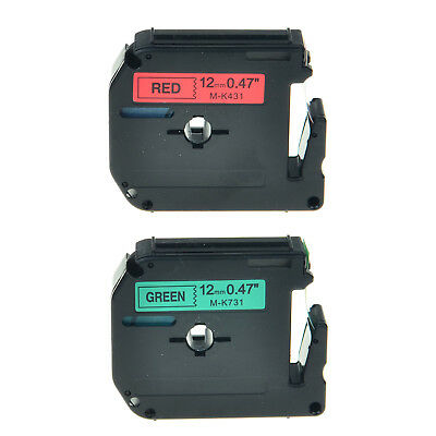 2PK MK431 MK731 12mm Black on Red Black on Green Replacement For Brother PT1190