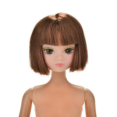 1 Pc Doll Head Fashion Flaxen Short Hair Students Head Wigs For s Doll XF9