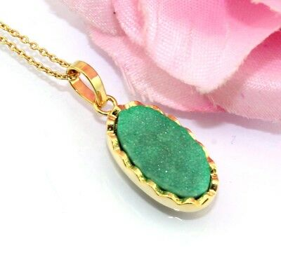 H5470 Sale !! Royal Green Natural Agate Druzy Gold Plated Pendant Chain Necklace