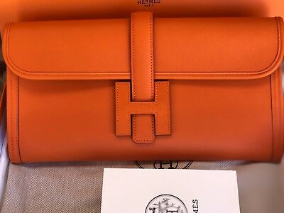 4b83c89393a0 Brand New Authentic Hermes Jige Elan 29 Pochette Orange Swift Leather Clutch