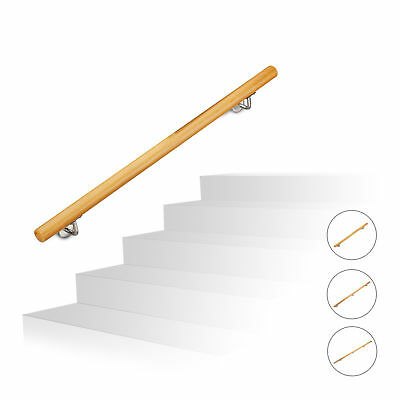 Wooden Handrail, Stair Banister up to 2 m, Wall-Mounted Balustrade Railing