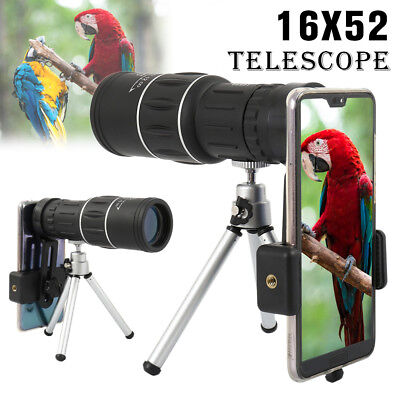 16x52 Pocket Monocular Telescope Spotting Scope Zoom Focus Tripod Holder Phone