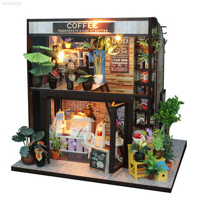 DIY Wooden Toy Doll House Miniature Kit Caravan Dollhouse w/Music LED Lights