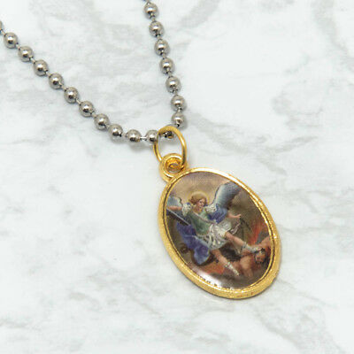 "Saint St Michael Gold Plated Oval Picture Medal Pendant Necklace 24"" Chain"