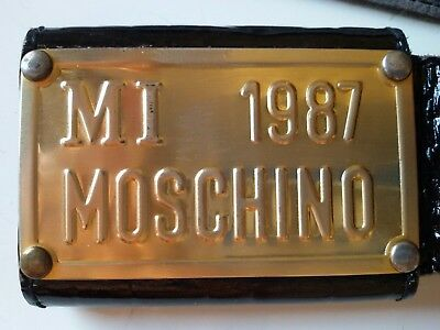 MOSCHINO MI-1987 LADIES BLACK BELT CROC EMBOSSED CULT RARE VINTAGE 1980s