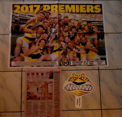 RICHMOND PREMIERS 80cm x 56cm POSTER  plus TIGER HAND MASK & MACCA COMIC CAPTION