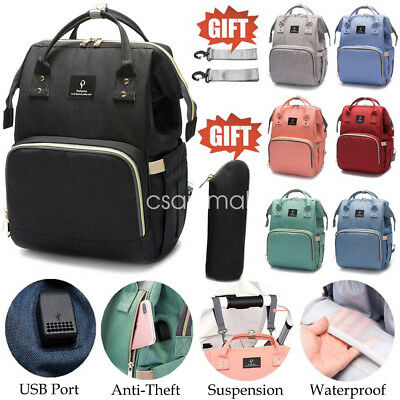 Baby Diaper Nappy Mummy Changing Bag Backpack Multi-Function Bag+Little Bag