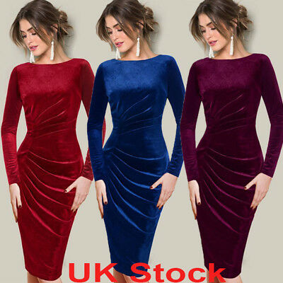 Womens Velvet Party Cocktail Midi Dress Ladies Long Sleeve Slim Bodycon UK 6-16