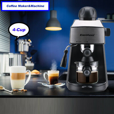 4-Cup Steam Coffee Maker Machine Espresso Cappuccino Latte Barista Frother 800W