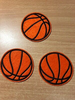 1 Embroidered Iron-On Patch Applique, Basketball