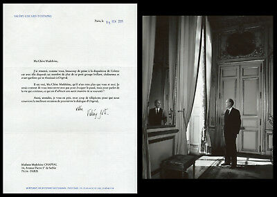 Valéry Giscard d'Estaing - Lettre signée à Madeleine Chapsal - 2008 + photo