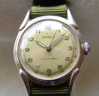 MEN'S WWII ERA BENRUS collection MILITARY WRISTWATCH good condition pre-1945