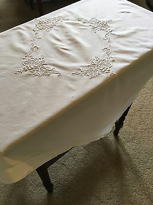Vintage Embroidered Cotton 82cm Square White Tablecloth