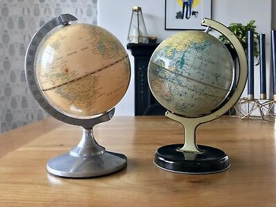 Two Vintage World Globes - 8 inches tall