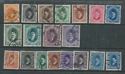 Egypt - 1923 & 1936 - Range of 19 different King Faud Definitive Issues - Used