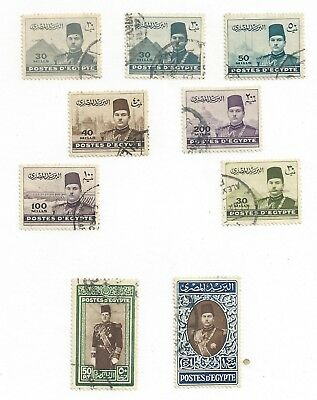 Egypt - 1939 - Range of 9 varied King Faud Definitive Issues - Postally used