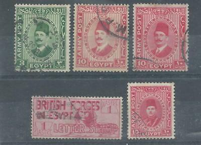 Egypt - 1935-39 British Forces in Egypt Army Post - Five values - Postally used