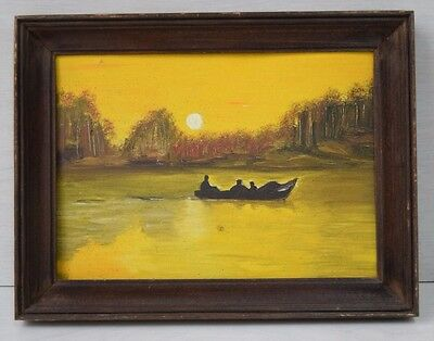 Vintage Collectible European Oil Painting Boat In The Golden Sunset Framed