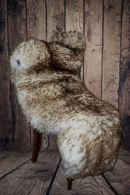 British Wolf Tipped Brown Mouflon Sheepskin Rug - Large 100cm by 60cms