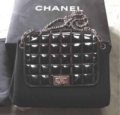 Auth CHANEL Handbag Black Matelasse Chocolate Bar Flap Quilted Pouch B1717