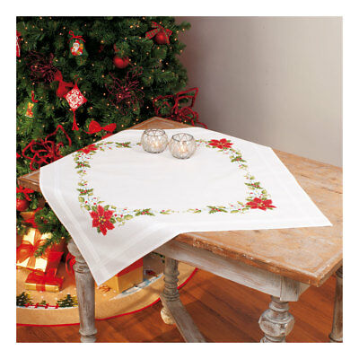Embroidery Kit Tablecloth Poinsettia Design Stitched on Cotton Fabric  80 x 80cm