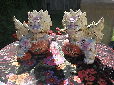 Pair Japanese Kutani Foo Dogs,Gilt Moriage,Shi Shi Guardian Lions w/ Swords 11""