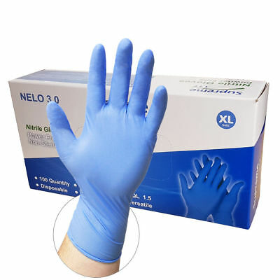 100 x Blue Nitrile Disposable Gloves | Box of 100 | Powder Free Latex Free